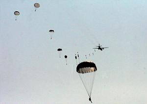 Pacific Fleet Marines Practice Parachute Jumping