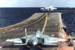 SU-33 fighter, takeoff, deck of aircraft-carrying cruiser (project 1143.5)