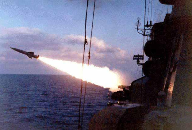 Missile launch from large submarine hunter Kerch