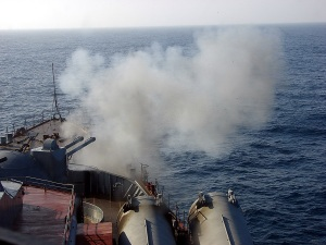 Black Sea Fleet trains at sea