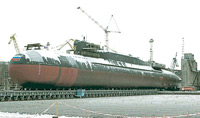 Russia's Voronezh nuclear ballistic missile submarine at Zvezdochka shipyards for planned modernization